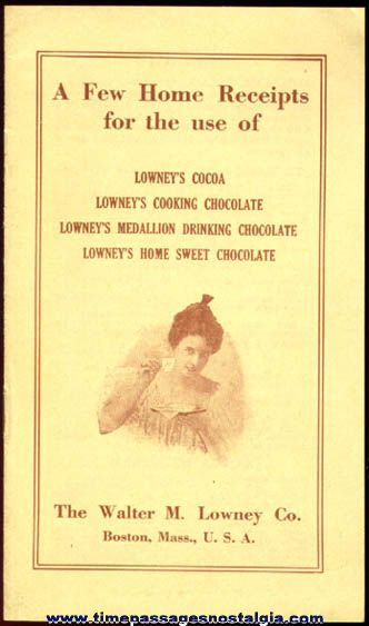 Old Lowney's Chocolate Recipe Pamphlet
