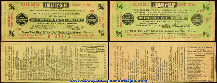 (2) 1910s Library Slip Advertising Coupons