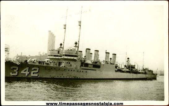Original Old United States Navy U.S.S. Hulbert DD-342 Photograph