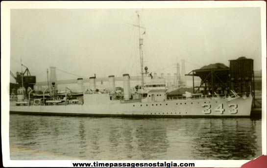 Original Old United States Navy U.S.S. Noa DD-343 Photograph