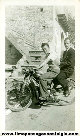 Old Motorcycle With Riders Photograph