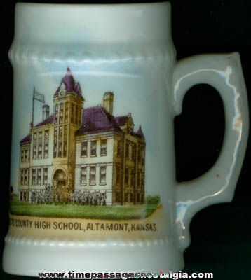 Old Kansas High School Advertising Souvenir Porcelain Mug
