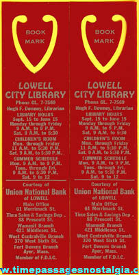 (2) Old Lowell City Library Advertising Premium Book Marks