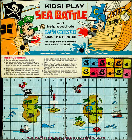 Complete Old Cap'n Crunch Cereal Box Board Game