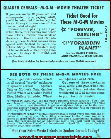 1955 Quaker Cereal Premium / Prize MGM Movie Theater Ticket