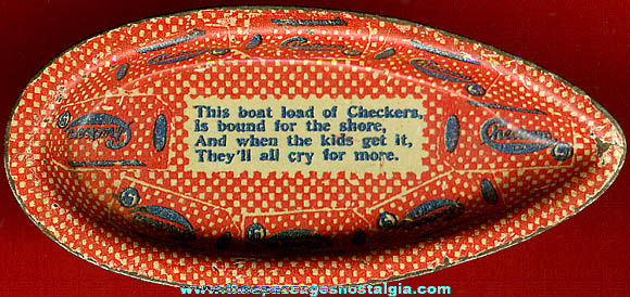 Old Lithographed Tin Checkers Popcorn Confection Advertising Premium Toy Boat
