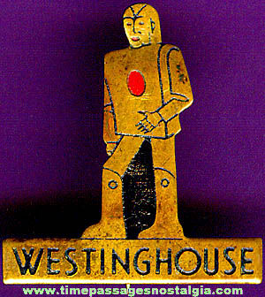 Old Painted Brass Westinghouse Advertising Premium Robot Pin