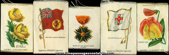 (5) Different Old Tobacco / Cigarette Advertising Premium Silks