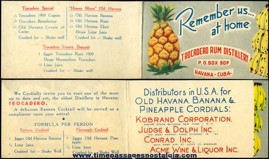 Old Havana, Cuba Trocadero Rum Distillery Advertising Brochure