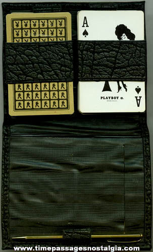 (2) Old Playboy Playing Card Decks With Case & Mechanical Pencil