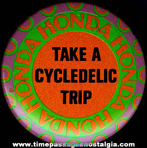 Colorful Old Honda Motorcycle Advertising Pin Back Button