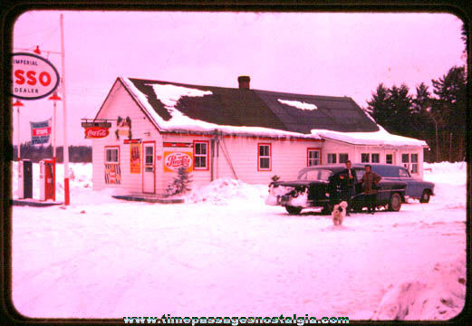 1950s ESSO Gas Station / Grocery Store Color Photo Slide