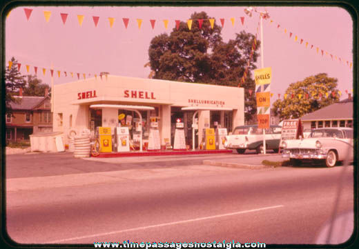 1950s Shell Gas / Service Station Color Photo Slide