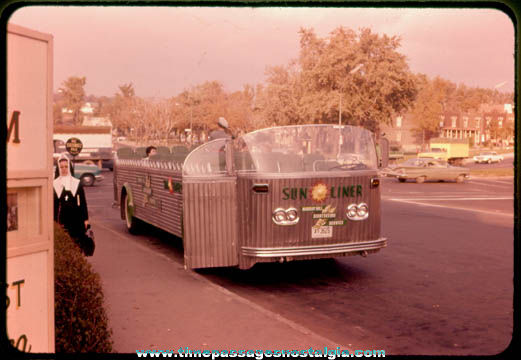 Old Open Air Bus Color Photo Slide