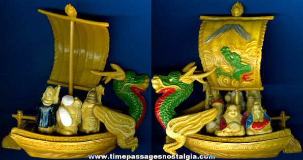 Old Painted Celluloid Japanese Toy Ship