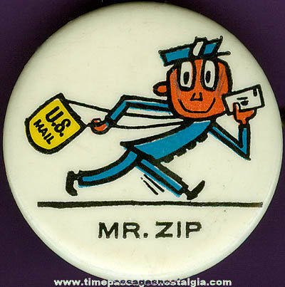 Old Mr. Zip U.S. Postal Service Advertising Character Pin Back Button