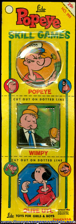 (3) Colorful �1965 Popeye Character Dexterity Palm Puzzle Games
