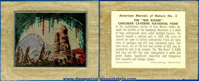 Old Carlsbad Caverns National Biscuit Company Premium Trading Card