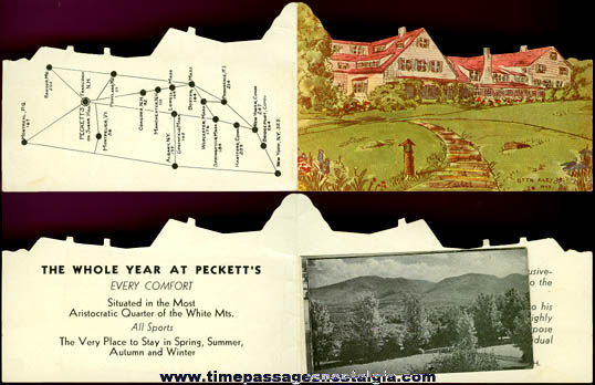 1923 Miniature Diecut Franconia, New Hampshire Hotel Advertising Brochure With Insert & Cover