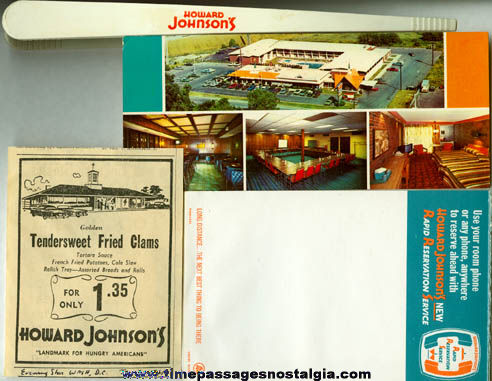 (22) Small Old Howard Johnson's Advertising Items