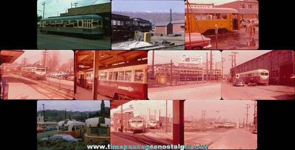 (10) Old Train / Street Car Photograph Slides