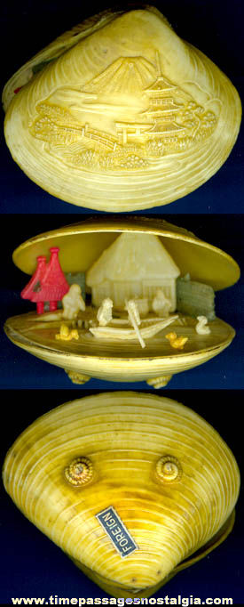 Old Celluloid Clam Shell Miniature Japanese Scene