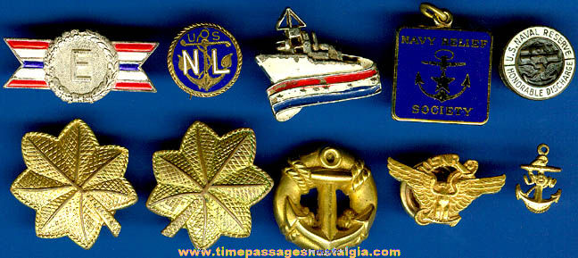 (10) Old United States Navy Pins & Charms