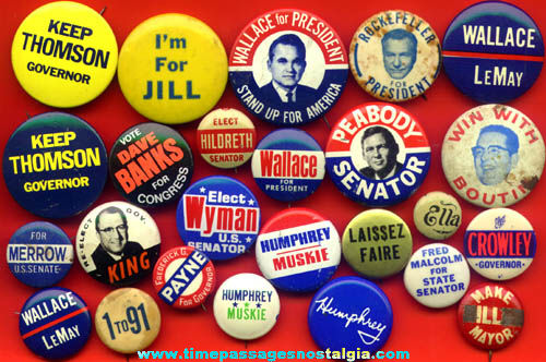 (25) Different Old Political Campaign Pin Back Buttons