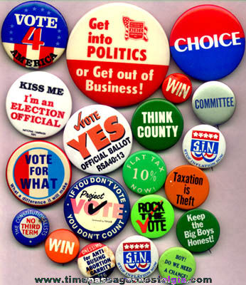 (20) Different Old Political Campaign Pin Back Buttons