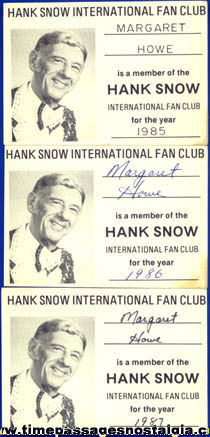(3) Old Hank Snow International Fan Club Membership Cards