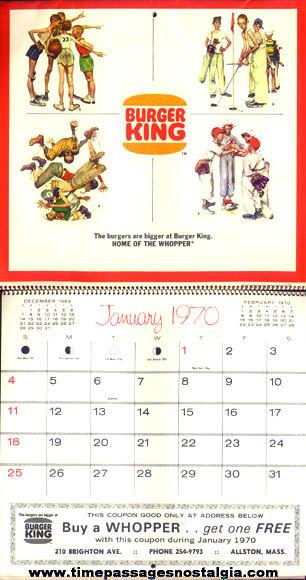 1970 Norman Rockwell Burger King Calendar