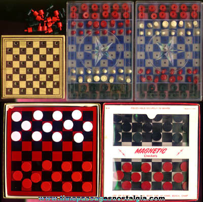 (5) Old Boxed Checkers & Chess Travel Games