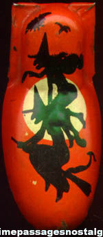 Old Lithographed Tin Halloween Witch Clicker