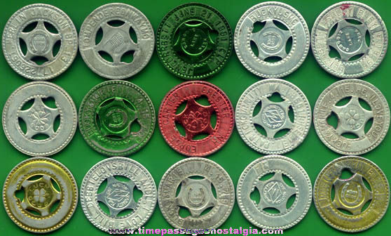 (15) Old Arcade Sovenir Personalized Good Luck Tokens / Coins