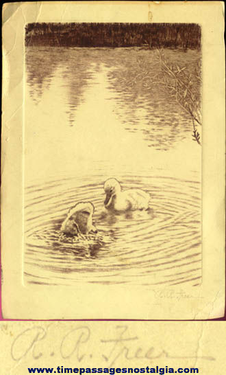 Old Signed Duck Pond Etching Print