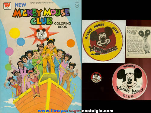 (5) Different Old Mickey Mouse Club Items
