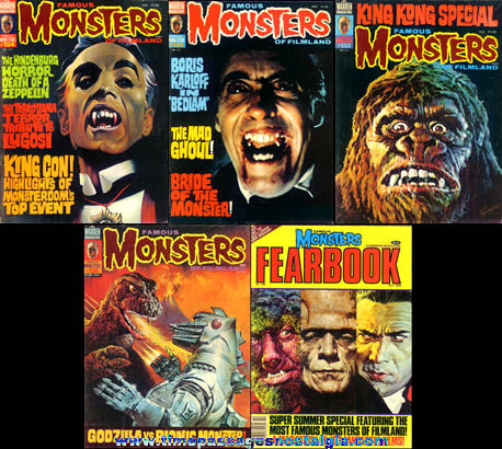 (5) Old Famous Monsters Of Filmland Magazines