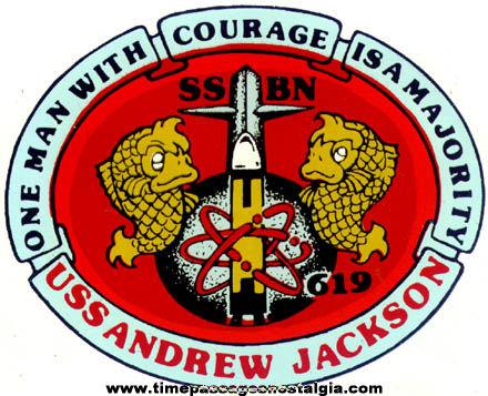 Unused U.S.S. ANDREW JACKSON SSBN619 Submarine Decal