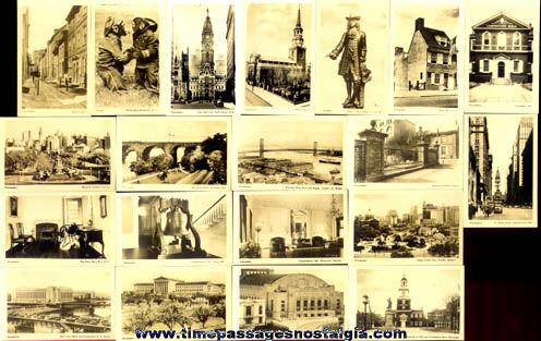(20) Old Miniature Philadelphia, Pennsylvania Souvenir Photographs With Mailer