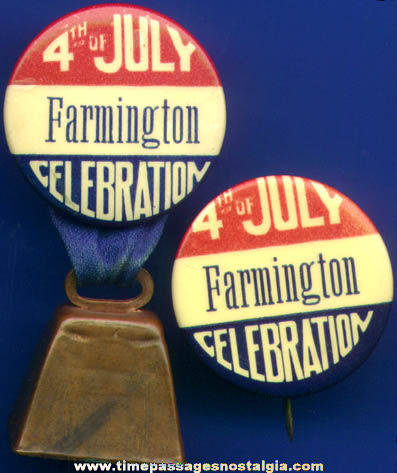 (2) Old Celluloid 4th Of July Celebration Pin Back Buttons