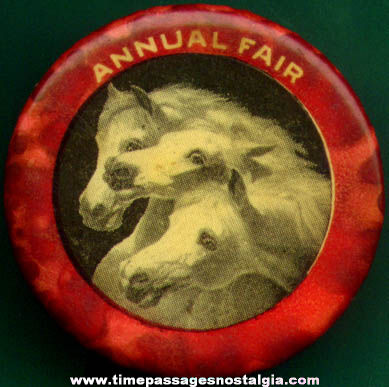 Old Celluloid Fair Advertising Pin Back Button with Horses