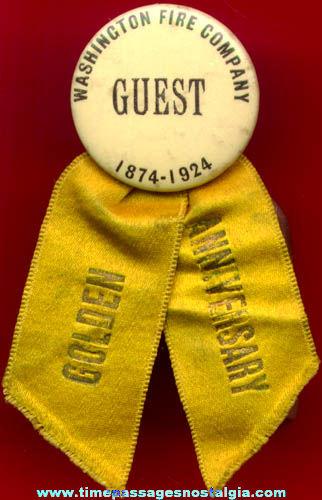 1924 Celluloid Washington Fire Company Badge with Ribbon