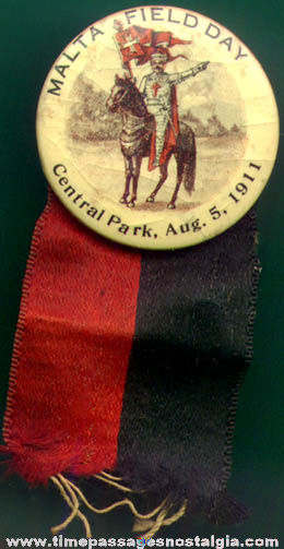 1911 Malta Field Day Advertising Badge with Ribbon