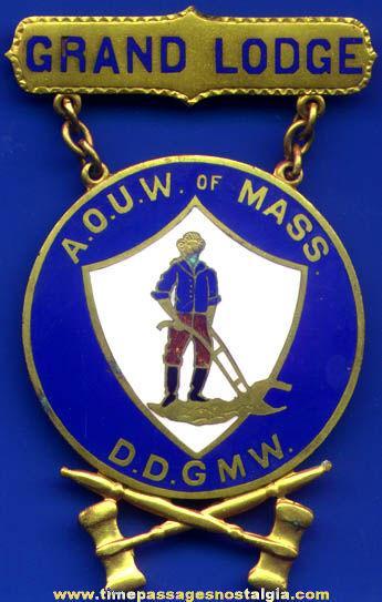 Old Ancient Order Of United Workman (A.O.U.W.) Enameled Fraternal Badge