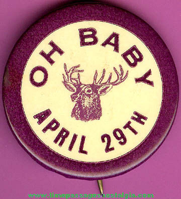 Old Celluloid Fraternal Elks Pin Back Button