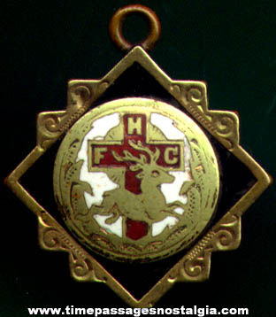 Old Enameled Catholic Order of Foresters Membership Watch Fob or Charm