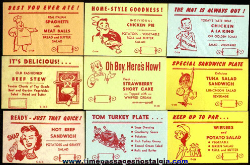 (24) Different Old Restaurant / Diner Menu Special Advertising Cards