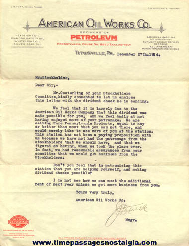 1924 American Oil Works Company Letter