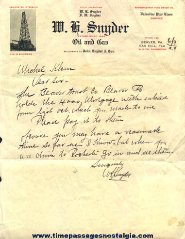 1924 W. H. Snyder Oil and Gas Company Letter
