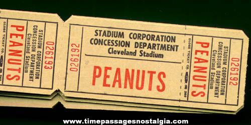 (20) Unused Cleveland Stadium Peanuts Tickets